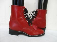 Justin Red Leather Lace Roper Cowboy Boots  Youth Size 4 B Style 503Y