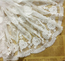 """White Floral Lace Fabric Bilateral Cotton Embroidered Tulle 14.96"""" Wide 1 Yard"""