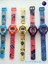 Boy Kid Children Minions OR Spiderman Digital rubber Band Wrist Watch gift him