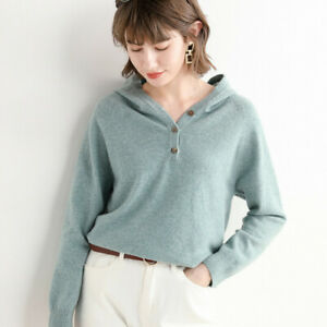 Quality Fashion Woman Winter 100% Cashmere Hooded Sweaters Knitted Warm V-Neck