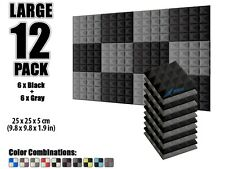 Arrowzoom Pyramid Acoustic Studio Foam Panel 12 pcs Gray & Black 9.8*9.8*1.9""
