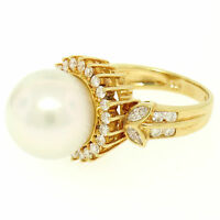 18K Yellow Gold LARGE 13.3mm South Sea Pearl Ring w/ Marquise & Round Diamonds