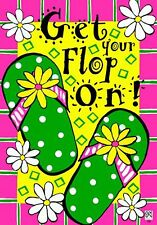 """SPRING SUMMER OUTDOOR DOUBLE SIDED MINI GARDEN FLAG """"GET YOUR FLOP ON"""""""