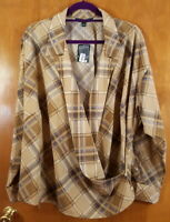 LAUREN RALPH LAUREN Size 2X Beige Brown Plaid Collared Surplice Wrap Top Blouse