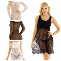 Womens Fishnet Lace Long Tank Vest Dress Bodycon Beach Short Mini Dress Sundress