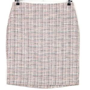Banana Republic Womens Textured Tweed Pencil Skirt Pink Blue Brown White Size 12