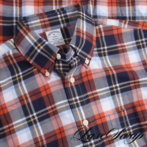NWT Brooks Brothers Regent Fit Orange Blue White Multi Tartan Plaid Shirt M NR
