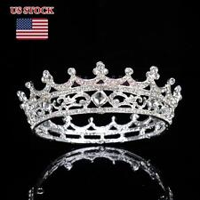 Crystal King Crown Rhinestone Tiara Wedding Pageant Bridal Diamante Headband NEW