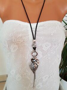 lange Halskette/Statement Kette * Modeschmuck * Silber * Herzen * Lederband