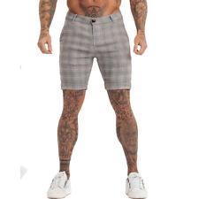 GINGTTO Men Chino Shorts Summer Stretch Spandex Gray Slim Fit Golf Half Pant