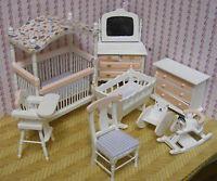 1:12th Scale 8 Piece Pink & White Nursery Set Dolls House Miniature Bedroom 899p