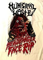 MUNICIPAL WASTE cd lgo HEADBANGER FACE RIP Official WHITE SHIRT 2XL New partying