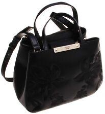 Guess Faux Leather Floral Design, Multi-pocket Handbag; Black (Large)