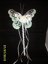 FLOWER GIRL OR BRIDESMAID  IVORY BUTTERFLY WAND + CRYSTALS