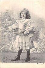 POSTCARD   CHILDREN    TENNIS  Girl    with    racket    2