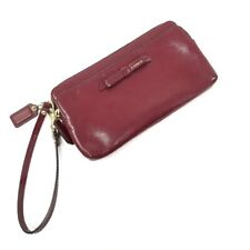 NWT Coach Poppy Textured Patent Double Zip Wallet Wristlet Sherry Red 49631
