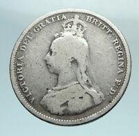 1887 UK Great Britain United Kingdom QUEEN VICTORIA Silver Shilling Coin i79539