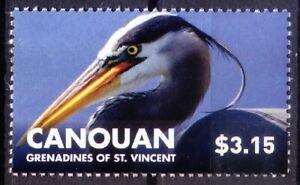 Canouan Vincent 2015 MNH, Water Birds,  Great Blue Heron