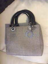 Authentic Christian dior  lady houndstooth hand bag purse SHW wool