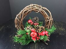 """Vintage Christmas Decoration Wreath Table Centerpiece Apple Pinecone Holly 10"""""""