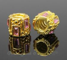 GORGEOUS YELLOW GOLD PLATE PINK RECTANGLE THREADED EUROPEAN BRACELET CHARM BEAD