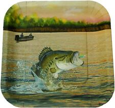 "GONE FISHIN' FISHING THEMED PARTY WARE - 7"" SQUARE PLATE WITH FISH, 8 COUNT"