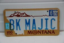 1991 Montana License Plate personalized BK MAJIC  Black Magic