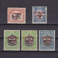 MALAYA BORNEO 1922, SG# 253, 265, 274, 275, £86, part set, MH
