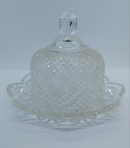 Avon Fostoria Cut Crystal Round Dome Covered Butter Dish Cheese Ball Keeper 1973