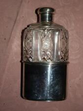 "ANTIQUE. HALLMARKED SILVER 1889. CUT GLASS.HUNT HIP FLASK..""DREW & Sons"""