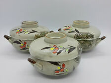 Set of 3 Floral Bowls with Lids, Handpainted, Orange Flowers & Brown Leaves, VTG