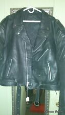 Size 54 Men's Black Leather Motorcycle Biker Jacket Mens Coat XL 2XL XXL 2X.