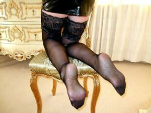 HOLD UP STOCKINGS Lace Top Sheer NYLON Stay Up Shiny See Through Black Lingerie