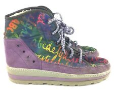 Ms Modes Purple Suede Hitop Shoes Soft Warm Inside Size 37 (7) Rainbow Alphabet