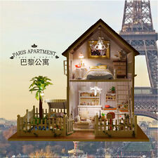 DIY Paris Cabin Doll House Cute LED Dollhouses Miniature Kit Christmas Gifts New