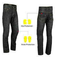 Mens Motorcycle Jeans Motorbike Pant Reinforced Denim Trousers CE Armoured Black