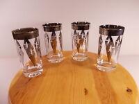 Glass Fleur-De-Lis 12 oz. Highball Glass Set of 4 Ice Tea Tumbler Silver Trim
