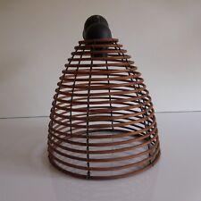 N2213 Eclairage lustre suspension métal bois art déco XXe fait main PN France