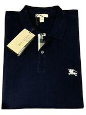 New Burberry Brit Men's Blue Nova Check Placket Polo Shirt Large New With Tags