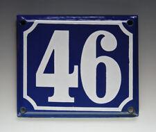 ALTE EMAIL EMAILLE HAUSNUMMER 46 in BLAU/WEISS um 1960