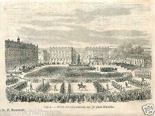 Parade Corporations Place Stanislas Nancy France GRAVURE ANTIQUE OLD PRINT 1866