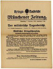 1. Weltkrieg, Plakat, Maueranschlag, Militärischer Tagesbericht vom 07.09.1918