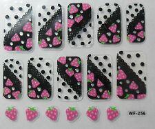 Accessoire ongles : nail art- Stickers autocollants - motifs fraises, pois noirs