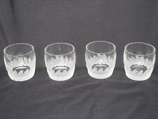 Four Modern Bohemia Crystal Whiskey ~ Water Tumblers Frosted Bottom