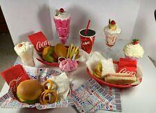 Vintage Fake Food 1950's Style Hamburger, Fries, Onion Rings,  Coke HUGE LOT