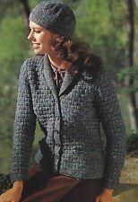 "Ladies Jacket Knitting Pattern Pockets and Shawl Collar DK 32-40"" 814"