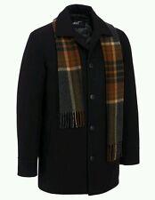 Black Rivet Mens Wool Single Breasted Coat W/ Scarf