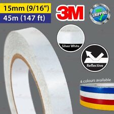 """3M SILVER WHITE Reflective Conspicuity PinStripe Vinyl Tape 15mm 9/16"""" 45m 147ft"""