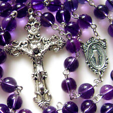 Silve 8MM AMETHYST BEADS ROSARY ITALY CROSS CRUCIFIX CATHOLIC GIFTS NECKLACE BOX