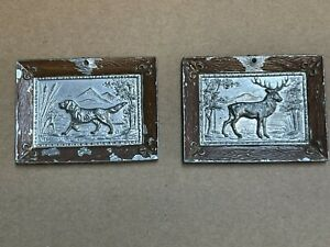 2 Antique Miniature Dollhouse Stamped Metal Hunting Scenes